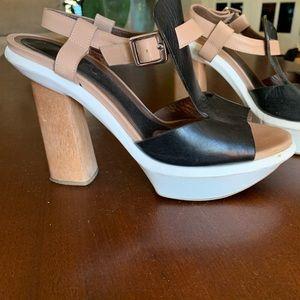 Marni Heels Color Block Wood White Black Leather
